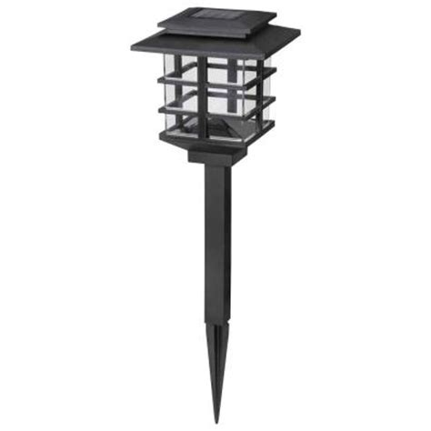 Home Depot Solar Outdoor Lights Hton Bay 10 Light Plastic Black Solar Led Garden Light Set Hd23873bk10 The Home Depot