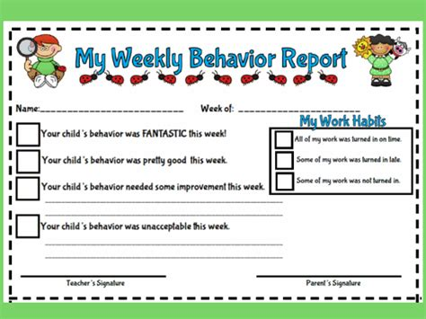 Behavior Report Templates For School My Weekly Behavior Report Style 1 Printable Worksheet