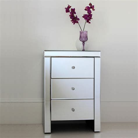 Mirror Bedside Drawers by Three Drawer Mirrored Bedside Table By Out There Interiors