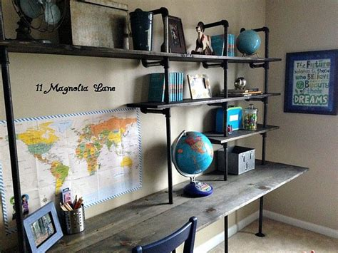 industrial shelves for a boy s room beneath my heart industrial shelving and desk in a little boys room