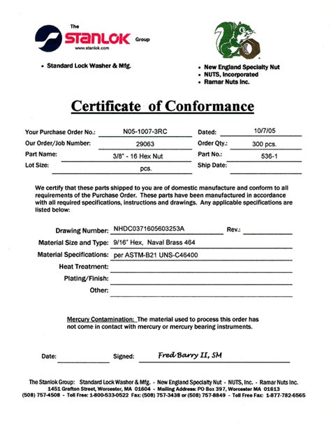 Certificate Of Manufacture Template certificate of conformance templatereference letters words