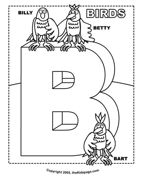 trendy b is for birds free coloring pages for kids