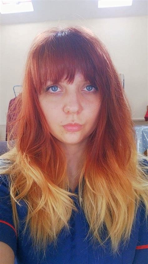 images of ombre hairstyles with fringes red to blonde ombre hair with fringe hair pinterest