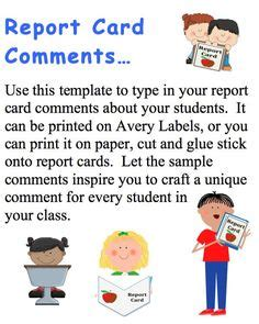 reprt card comment template 1000 images about report card comments on