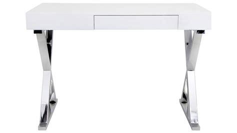 white and chrome desk modern white lacquer and chrome equis desk zuri furniture