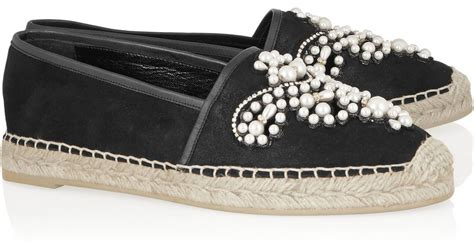 Sandal Gucci 9320 1blz lyst rene caovilla pearl embroidery suede espadrilles in black