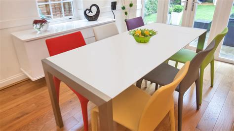 White Dining Table And Coloured Chairs Matt White Extending Dining Table Coloured Faux Leather Dining Chairs