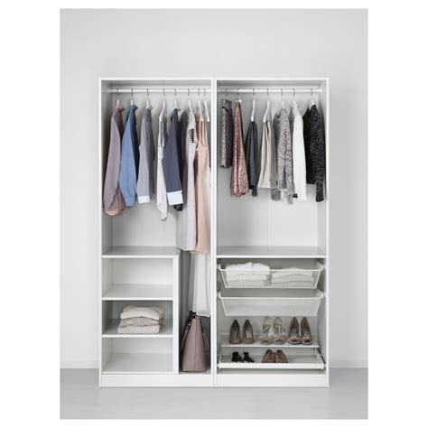 Fitted Wardrobes Pax by Pax Wardrobe White Sekken Frosted Glass 150x66x201 Cm