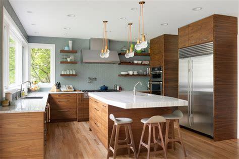 kitchen   week walnut cabinets channel midcentury style