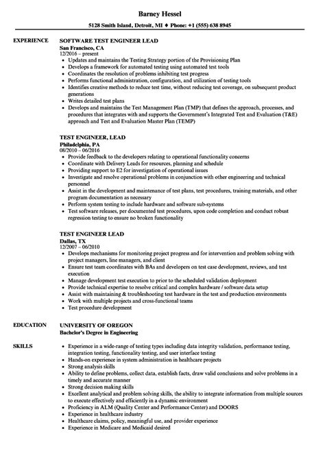 test lead resume format test engineer lead resume sles velvet