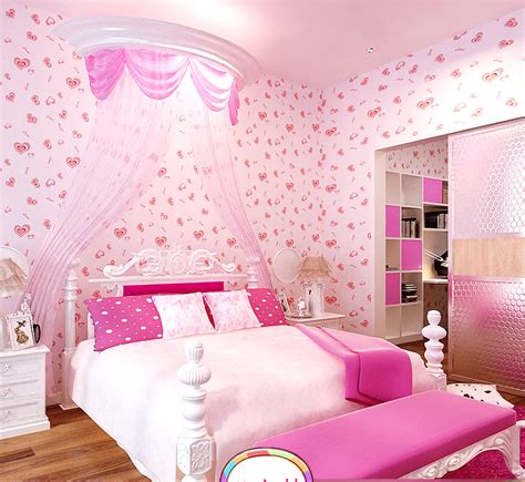 wallpaper for girls bedroom compare prices on pink heart wallpaper online shopping
