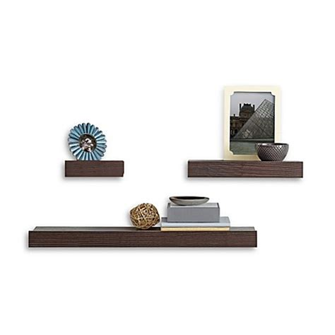 madison decorative wall ledge shelf set of 3 espresso real simple 174 3 piece decorative shelf set bed bath beyond