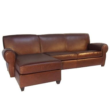 manhattan leather sofa manhattan leather sofa with chaise sectional pottery barn