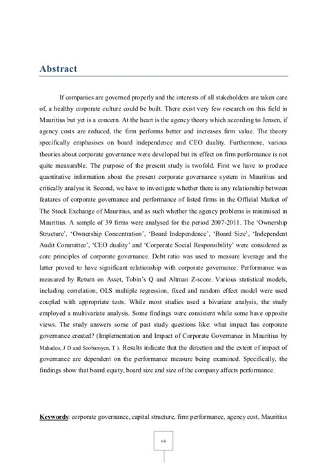 Corporate Governance Essay by Impact Of Corporate Governance On Leverage And Firm Performance Maur
