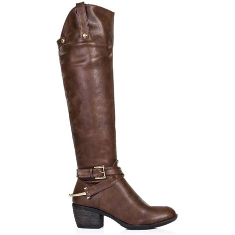 knee high brown boots buy heeled knee high boots brown leather