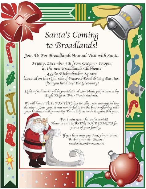 office holiday decorating contest flyer broadlands annual visit with santa friday december 5 from 5 30pm to 8 30pm at the clubhouse