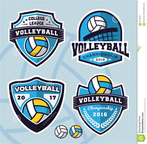 set of volleyball logo template design stock vector