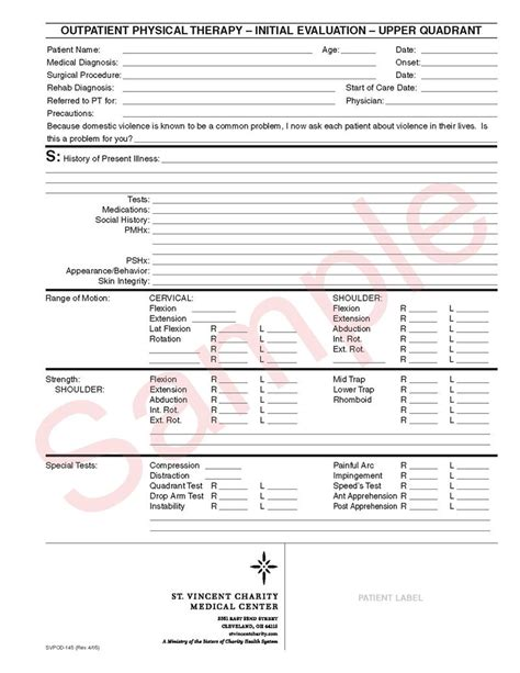 Physical Therapy Equipment Outline Physical Therapy Evaluation Form Template