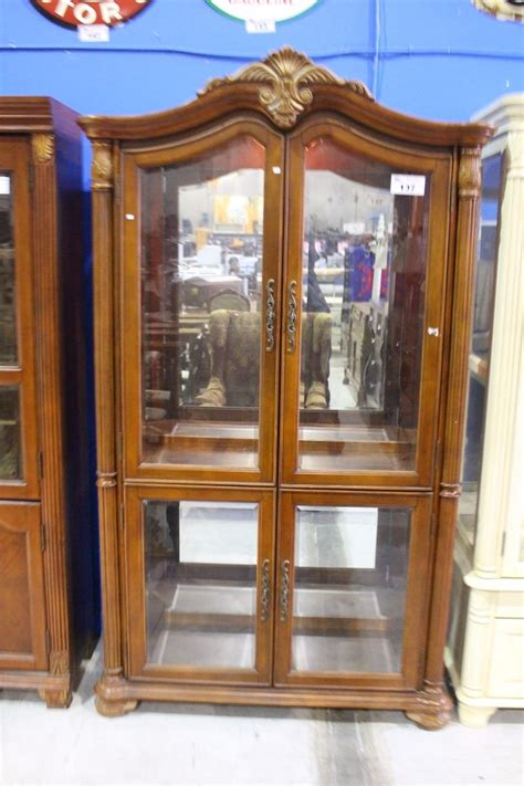 beveled glass china cabinet wood grain beveled glass 4 door china cabinet able auctions
