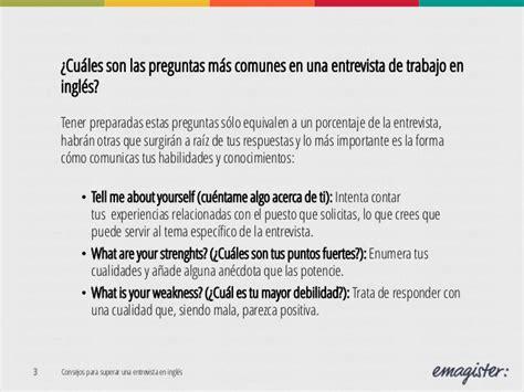 preguntas y respuestas comunes en una entrevista en ingles consejos superar una entrevista en ingl 233 s e recursos
