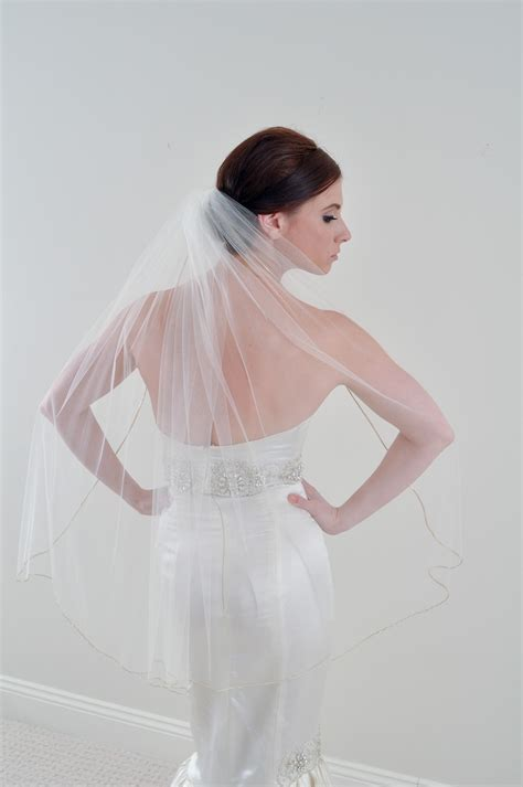 Wedding Hairstyles With Fingertip Veil by Fingertip Length Tulle Bridal Veil On Etsy Onewed