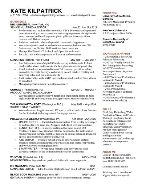 Resume Template Journalism by Professional Journalism Resume Template Bongdaao