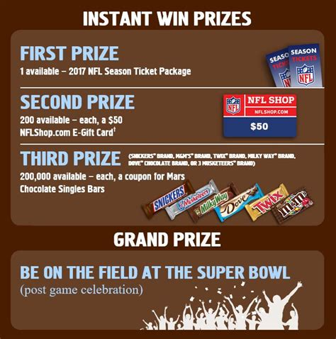 Snickers Super Bowl Sweepstakes - snickers nfl super bowl instant win game over 200 000 winners instantwin