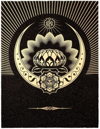 Obey Black Gold White shepard fairey original prints lithographs and etchings