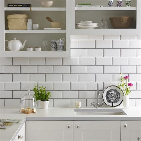 kitchen ceramic wall tiles gloss white metro bevelled brick kitchen ceramic wall tiles 10 x 20cm ebay