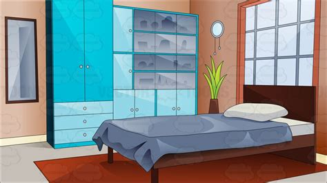 cartoon bedroom a pretty and comfortable bedroom cartoon clipart vector