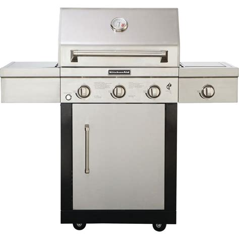 kitchenaid 3 burner propane gas grill with side burner in