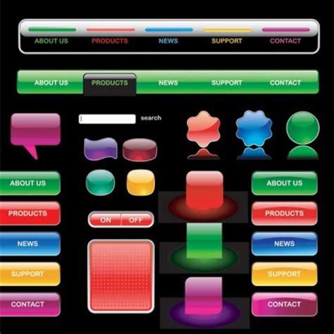 design menu buttons glass textured web buttons vector graphics set vector