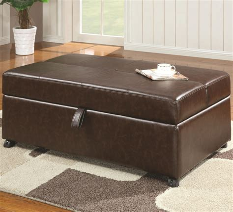folding bed ottoman pandora ottoman folding bed in brown bonded leather