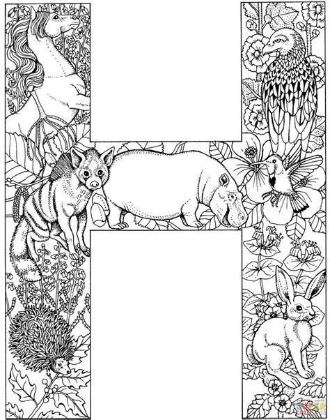printable color fonts letter h with animals coloring page free printable