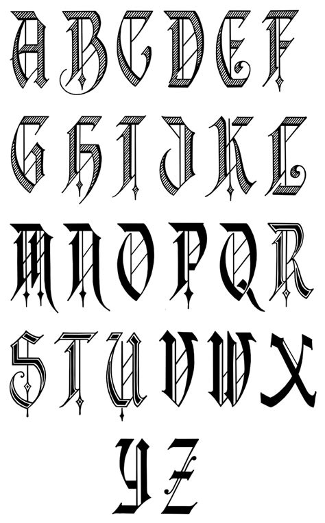 Printable Old English Fonts | old english calligraphy alphabet fancy old english
