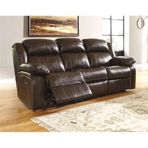 ashley leather recliners ashley branton leather power reclining sofa in antique