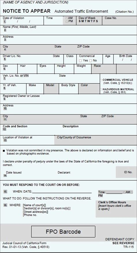parking ticket template printable