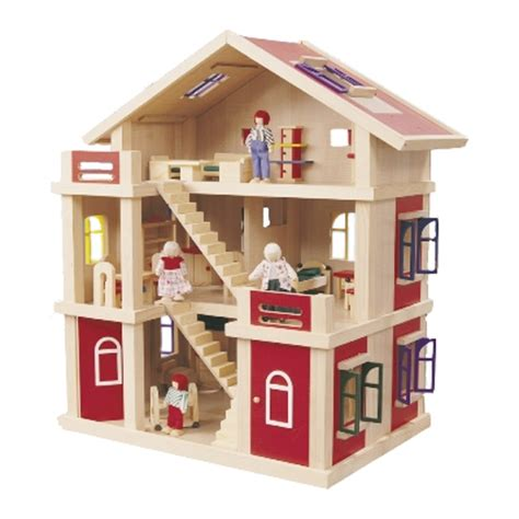dolls house game wooden 3 level red doll house play center by timbertop romantic flair original