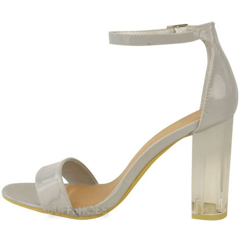 clear sandals heels womens clear perspex block high heels ankle strappy