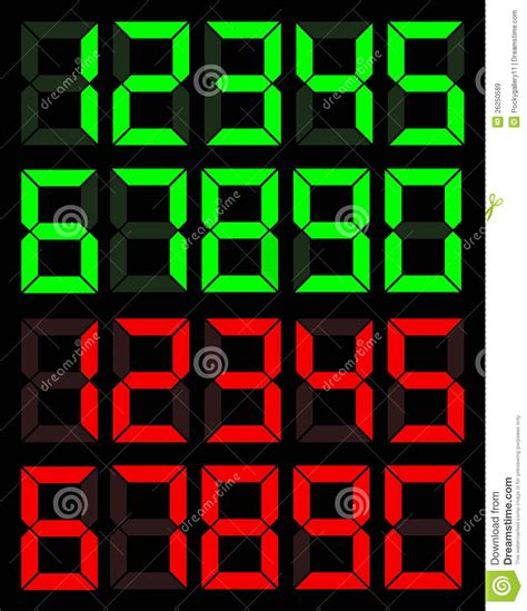 Black Digital Button Number Zero Royalty Free Stock Set Of Green And Digital Number Royalty Free Stock Images Image 26250589