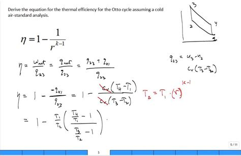 derive otto cycle thermal efficiency youtube