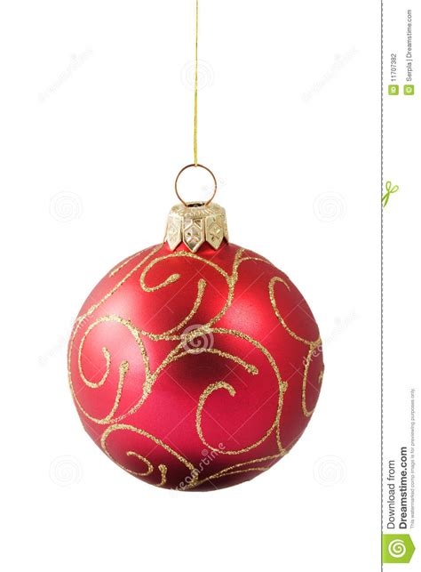 hanging red christmas bauble with ornament stock