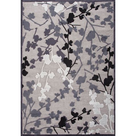black pattern area rug contemporary floral leaves pattern gray black rayon and