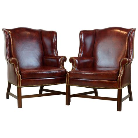 pair of leather wingback chairs pair of comfortable vintage george iii style leather