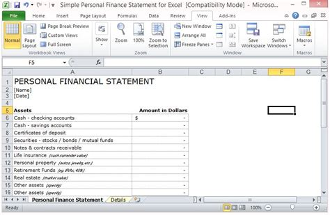 Simple Personal Finance Statement Template For Excel Financial Statement Template Xls