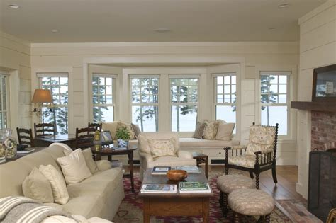 Decorating Living Room With Bay Window And Fireplace A New Maine Quot Cottage Quot Traditional Living Room