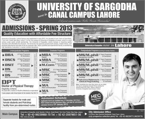 Mba Internships Sargodha by Of Sargodha Lahore Cus Admissions