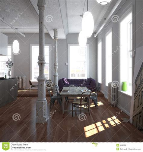 Classic New York Loft stock photo. Image of comfortable