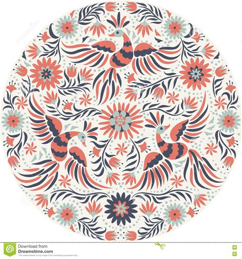 embroidery design vector vector mexican embroidery round pattern stock vector