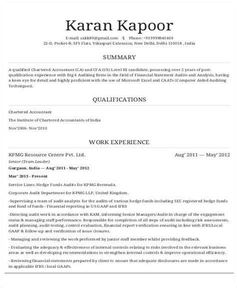 chartered accountant resume format pdf 32 accountant resume sles sle templates